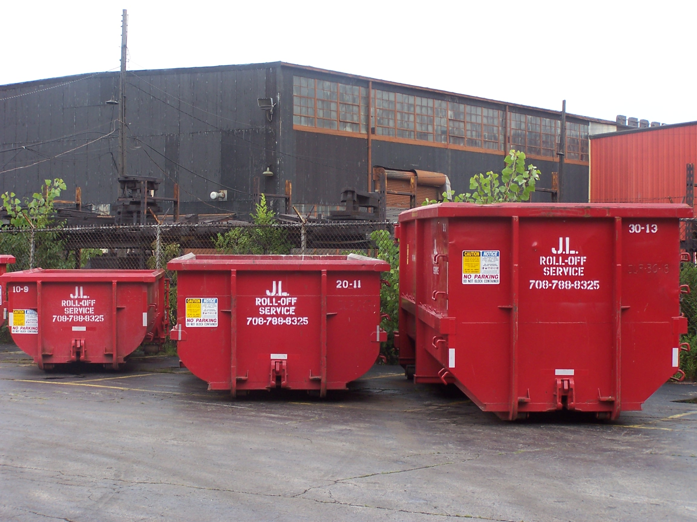 Dumpster sizes, front view
